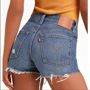 Vintage Levi's 501 jean Shorts cheeky fit blue 25